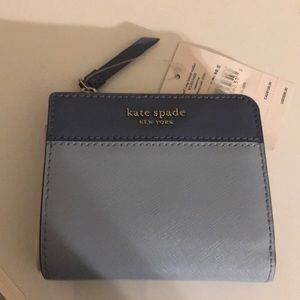 Kate spade Cameron small l zip bifold wallet blue